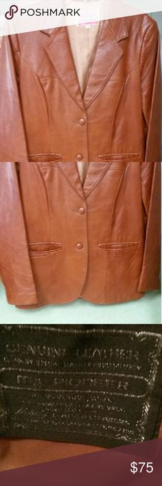 "Genuine Leather vintage jacket 1970-1980's vintage, genuine butter soft Leather,  fits sz 4-6 US. 16"" SHOULDER TO SHOULDER Shoulder to end of sleeve 24in Shoulder to hemline 26in Jackets & Coats Blazers"