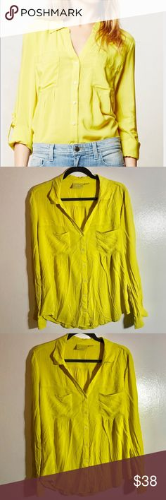 anthropologie • maeve islet yellow blouse condition: excellent condition.  Worn twice, washed, and hung to dry.  Beautiful chartreuse color, soft and silky.  Drapes nicely.  Small marking near bottom right of shirt pictured.    100% rayon   NO TRADES  trusted seller for years • ships quickly great feedback • offers welcome Anthropologie Tops Button Down Shirts