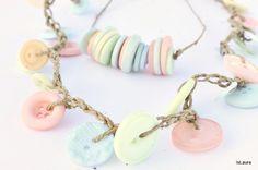 Particolare di collane bottoni FunLab Buttons, Earrings, Jewelry, Fashion, Beading, Jewels, Jewellery Making, Moda, Fashion Styles