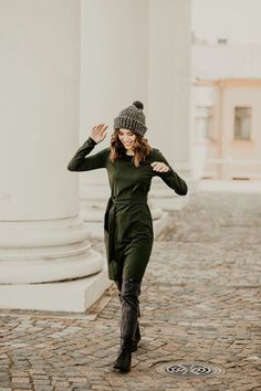 Dresses For Work, Pretty Dresses, Beautiful Dresses, Forest Color, Fair Trade Clothing, Ethical Fashion Brands, Organic Cotton T Shirts, Everyday Dresses, Belted Dress