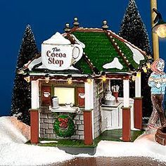 "Department Products - ""The Cocoa Stop"" - View Lighted Buildings Disney Christmas Village, Christmas In The City, Christmas Village Houses, Halloween Village, Christmas Town, Merry Christmas To All, Christmas Villages, Christmas Holidays, Christmas Decorations"