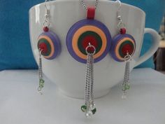 Handmade/Paper quilled pendant & Earring with by hobbyhours, $20.00