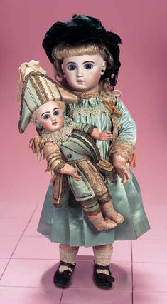 """French Bisque Bebe E.J. by Jumeau,Size 10 with Fine Couturier Costume 21"""" (53 cm.)"""