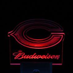 """Chicago Bears Budweiser 4"""" by 4"""" LED Night Sensing Light"""