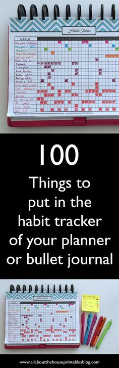 100 things to put in your habit tracker of your planner or bullet journal (plus free printable habit tracker How to use a habit tracker for your planner or bullet journal ideas list bujo planner inspiration organization time management Bujo Planner, To Do Planner, Passion Planner, Life Planner, Happy Planner, Planner Diy, Printable Planner, Free Printables, 2015 Planner