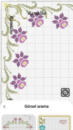 Hand Embroidery Patterns Free, Border Embroidery, Embroidery Flowers Pattern, Simple Embroidery, Cross Stitch Embroidery, Cross Stitch Borders, Cross Stitch Flowers, Cross Stitch Designs, Small Cross Stitch