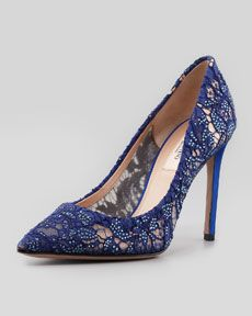 Valentino Crystal Embellished Lace Pointy Pump, blue