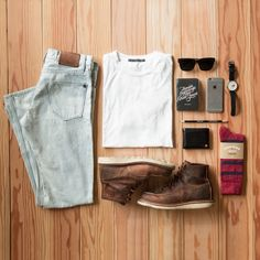 Outfit grid from our friends over at Richer Poorer, featuring Freenote Bleach Blue Wash Denim & White Tee  #mensfashion #bleachdenim #whitetee
