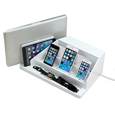 G.U.S. All-In-One Charging Station, Valet, and Desktop Organizer - Multiple Finishes Available. For Laptops, Tablets, Phone and Wearable Technology - White High Gloss -- Details can be found by clicking on the image.