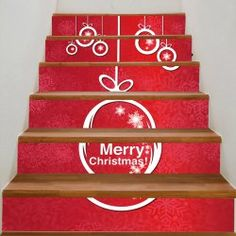 Christmas Snowflake Print Decorative Stair Stickers - COLORFUL Christmas Stairs, Christmas Snowflakes, Merry Christmas, Refinish Stairs, Stair Stickers, New Staircase, Cheap Vinyl, Basement Stairs, Painted Floors