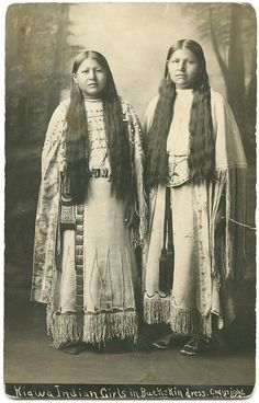 Kiawa  Indian Girls in Buckskin dress      Lawrence T. Jones III Texas photography collection    Lawton, Comanche County, Oklahoma