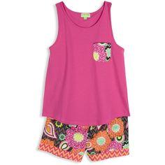 Vera Bradley Pajama Shorts and Tank in Ziggy Zinnia (41 AUD) ❤ liked on Polyvore featuring intimates, sleepwear, pajamas, pijamas, shirts, sale, ziggy zinnia, cotton pajamas, cotton jersey and cotton pjs