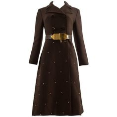 Preowned 1960s Brown Wool Coat With Gold Studs And Belt ($5,086) ❤ liked on Polyvore featuring outerwear, coats, brown, woolen coat, wool coat, brown wool coat and brown coat