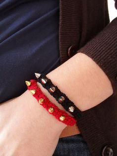 Spike Bracelet by MaparimCrochet on Etsy, Spike Bracelet, Crochet World, Fall Winter, Bracelets, Leather, Etsy, Jewelry, Fashion, Gifs