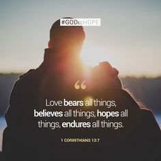Love bears all things, believes all things, hopes all things, endures all things. - 1 Corinthians 13:7 #GODisHOPE Bible Quotes, Words Quotes, Me Quotes, Status Quotes, Crush Quotes, Wedding Anniversary Quotes, Love Anniversary, Love Bears All Things, Love Is In The Air