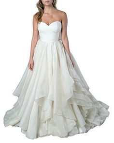 Emmani Womens Sweetheart Layers Organza Bridal Wedding Dresses 12 White *** Read more reviews of the product by visiting the link on the image.