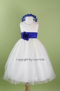 Flower Girl Dress - WHITE Tulle Dress with Blue ROYAL Sash - Bridesmaid, Communion, Easter, Wedding - Baby, Toddler, Child (RBPW)