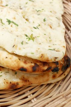 This naan is soft and pillowy, with just the right degree of chewiness. If you love the naan you have in Indian restaurants, you'll adore this! | yumsome.com