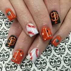 SF Giants nails!! Love me some baseball!!!!!! | beautiful nail ...