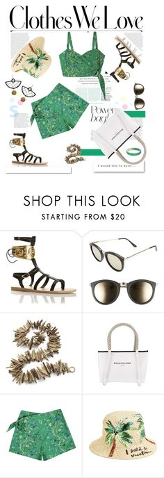 """""""In the Bag: Beach Totes"""" by slavicabojanovic ❤ liked on Polyvore featuring JULIANNE, Le Specs, Crate and Barrel, White Label, Balenciaga, Samantha Pleet, Kate Spade and beachtotes"""