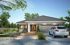 Projekt domu Miriam III 118,1 m2 - koszt budowy - EXTRADOM Simple Bungalow House Designs, Modern Bungalow House, Bungalow Interiors, Bungalow House Plans, Dream House Plans, Modern House Plans, Minimal House Design, Small House Design, House Layout Plans