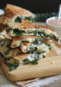 Smashed White Bean Kale Quesadilla. Try with a chipotle-yogurt sauce instead a BBQ sauce.