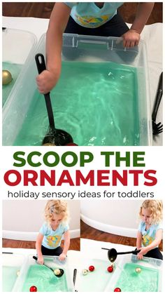 Scoop the Ornaments Holiday Sensory Play for Toddlers - - Are you looking for Christmas sensory play activities? Make an Ornament Scooping bin! Your kids will thank you! This ornament scooping activities is a great holiday sensory idea for toddlers. Babysitting Activities, Fun Activities For Toddlers, Infant Activities, Games For Babies, 15 Month Old Activities, Outdoor Preschool Activities, Activities For Babies Under One, Dear Zoo Activities, Water Play Activities