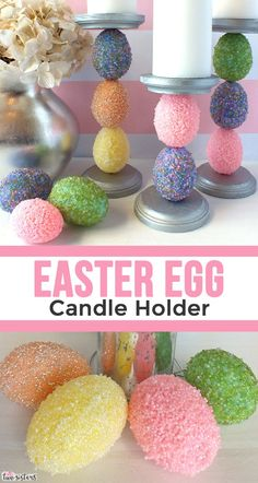 Easter Egg Candle Holder - Use embellished plastic Easter Eggs to make this beautiful Easter Candle Holder. We have step by step instructions for making this pretty Easter Decoration.  So easy to make, this DIY Easter Craft is a fun project for the whole family.  Pin this pretty Spring decor item for later and follow us for more fun Easter Craft Ideas.
