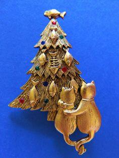 JJ Jonette Cat Christmas Tree Brooch Pin by FrivolousIndulgences
