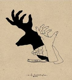 Stag shadow puppet.