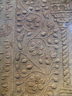 Trapunto. Detail of The Tristan Quilt, linen, Sicily, 13th century, collection of the Victoria & Albert Museum