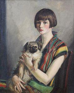 1920s A Lady with her Dog by Boris Dmitrievich Grigoriev