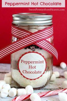 Peppermint Hot Chocolate Gifts in a Jar Recipe