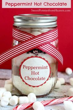 Here is an easy peasy Peppermint Hot Chocolate Mix Gifts in a Jar! These are an excellent and frugal gift idea for anyone on your list. Teachers, bus drivers, grandparents, everyone will love these!