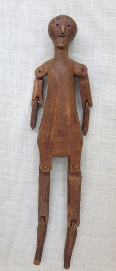 "12"" Primitive Vintage Antique Hand Carved Wood Male Figure Doll Peg Jointed 