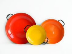 Trio of Enamel Paella Pans Red Orange Yellow with by MonkiVintage #thanksgiving , $45.00