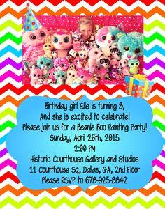 Beanie Boo Birthday invitation idea