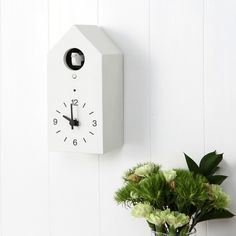 MUJI cucckoo clock - an  innovative approach to a classic design, the clock has two chime functions and employs a clever light sensor so it does not ring in the dark. Can stand alone or be mounted on a wall.