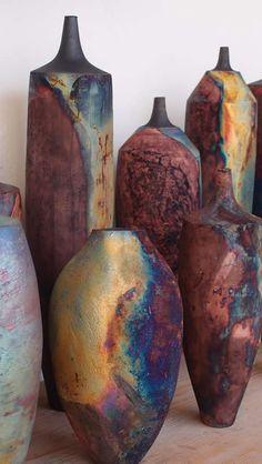 tim betts and julie montgomery.the raku garden. Ceramic Pots, Ceramic Clay, Raku Pottery, Pottery Art, Julie Montgomery, Pottery Painting Designs, Transitional Decor, Pottery Studio, Polymer Clay Art