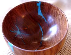 pretty turquoise inlay wooden turned bowls.