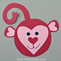 Heart Shaped Monkey Valentine Craft - Crafty Morning - Make a heart shaped monkey craft with your kids on Valentine's Day! Valentine's Day Crafts For Kids, Animal Crafts For Kids, Valentine Crafts For Kids, Daycare Crafts, Toddler Crafts, Preschool Crafts, Preschool Kindergarten, Diy Crafts, Kids Diy