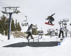 @ulrikbadertscher @backstromkevin and @torlundstrom having some fun in the @mammothmountain park while filming for EP 4 of @byndxmdls. Full edit up now. Photo: @dashanosova @mammothunbound #twsnow