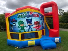 Our PJ Masks Large Jumping Castle, it has large jumping area and has external side. Perfect addition to you PJ Masks themed party. #partyhriesydney #inflatables #jumpingcastle #funtimepartyhire