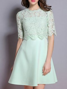 Shop Mint Eyelash Lace Combo A-Line Dress online. SheIn offers Mint Eyelash Lace Combo A-Line Dress & more to fit your fashionable needs. Dress Brukat, Batik Dress, Lace Dress, Simple Outfits, Simple Dresses, Short Sleeve Dresses, Lovely Dresses, Stylish Dresses, Abaya Fashion