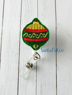 Christmas Ornament with Rhinestones with Retractable Badge Reel. A great ID Badge Holder for yourself or for your favorite nurse, coworker - pinned by pin4etsy.com
