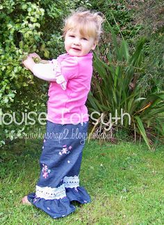 Pants made with Jenna's Ruffle Pants pattern from CKC