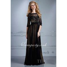 Black Long Sleeve Beaded Prom Dress With V Back