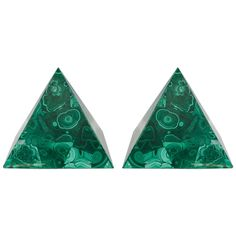 A Set of Decorative Malachite Pyramids with Green Swirl Detailing | From a unique collection of antique and modern decorative objects at https://www.1stdibs.com/furniture/more-furniture-collectibles/decorative-objects/