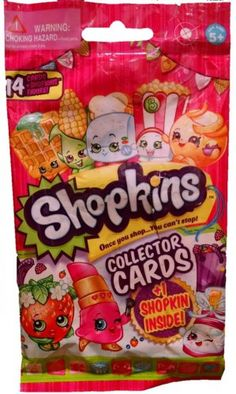 Lot of 14 - Bulls i toy Shopkins Collector Cards + 1 Shopkins Figure - Assorted by Moose Toys