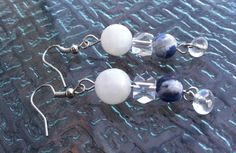 Moonstone, Sodalite, Crystal Earrings